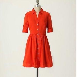 Moulinette Soeurs Red Button Down Shirt Dress